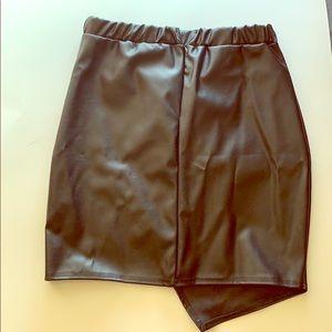 BooHoo mini black leather wrap skirt
